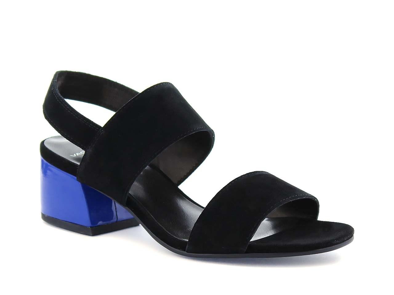 1e6bf664d16 Svart sandalett med blå klack